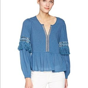 New Lucky Brand Cutout Peasant Top, Blue, Medium